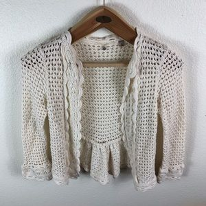 Knitted & Knotted Crochet Open Cardigan Cream XS